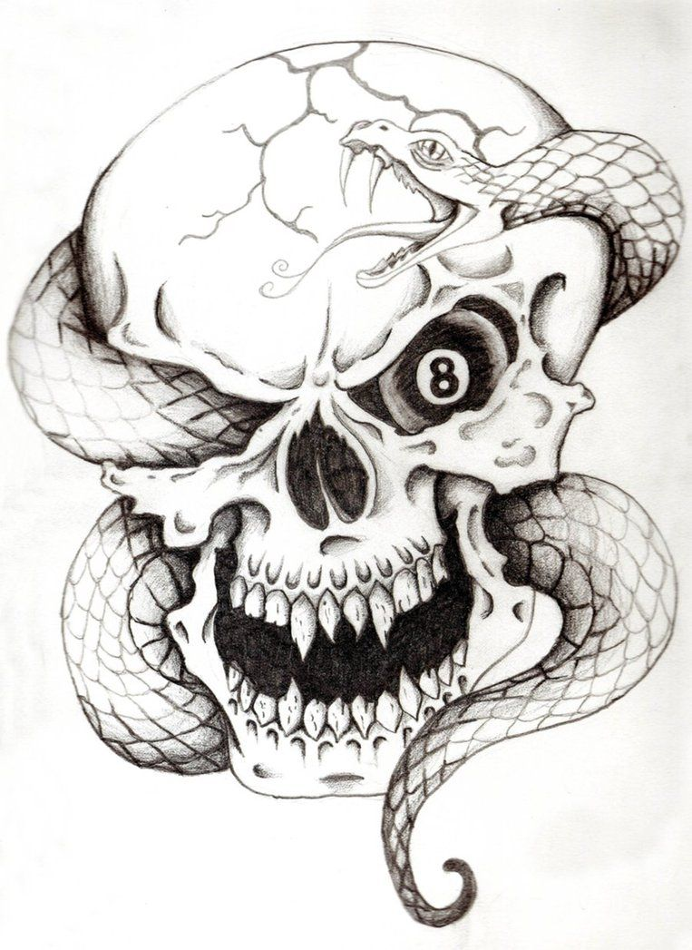 Skull And Snake Tattoo Make Eye Red Instead Of Eight Ball