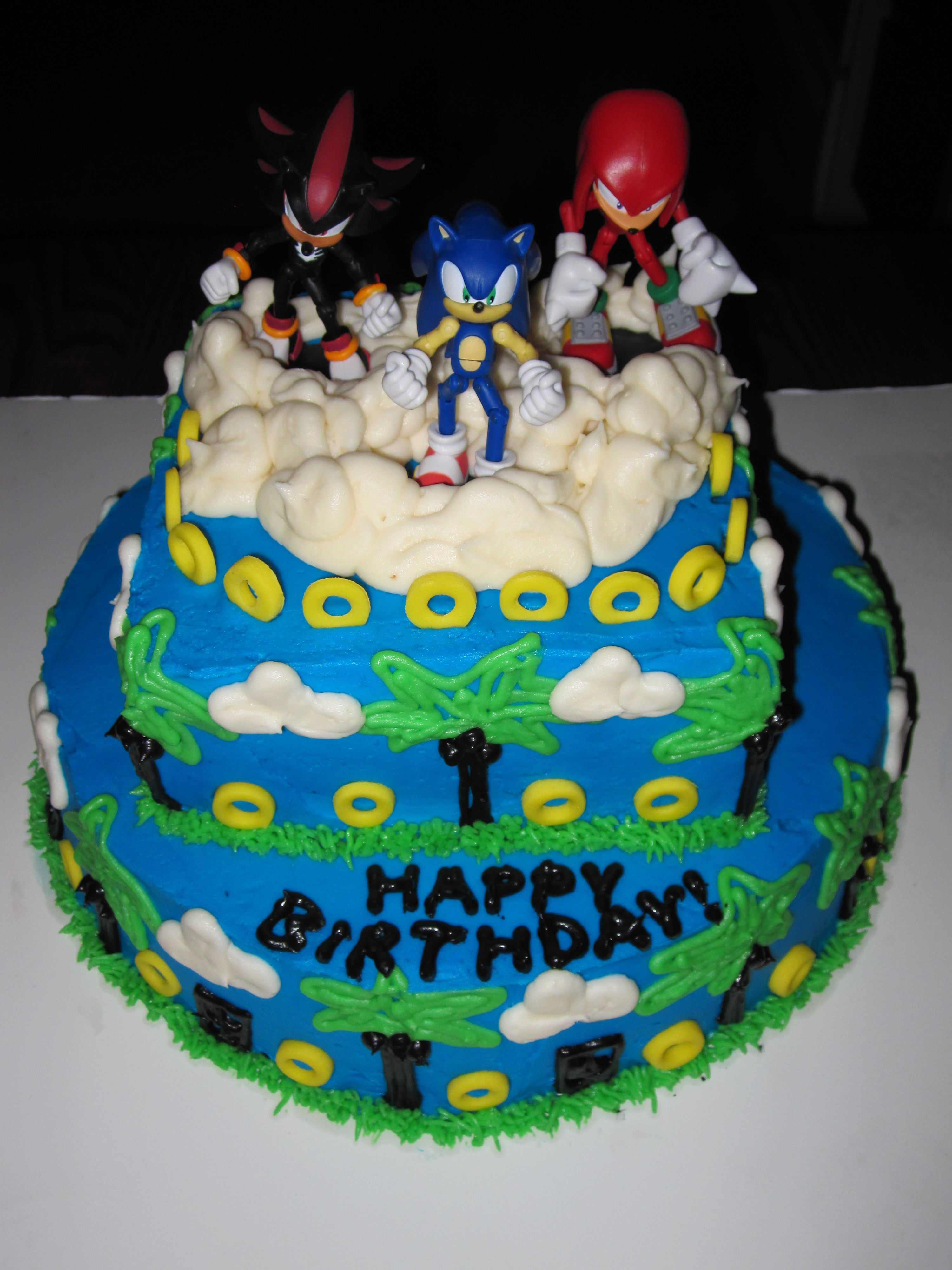 Sonic birthday cake all buttercream except the rings are