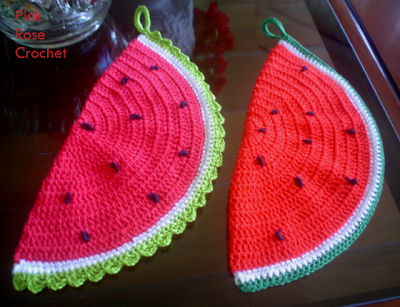 \ PINK ROSE CROCHET /: Pega  Panelas Melancia .  Crochet Watermelon Potho...