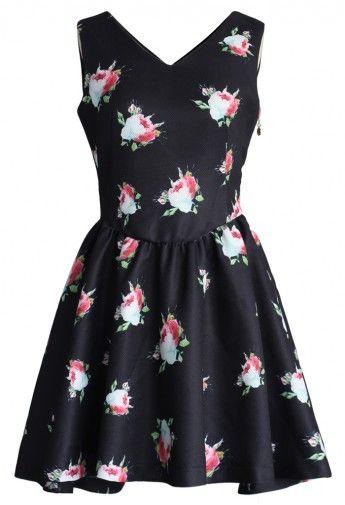 Retro Roses V-neck Dress