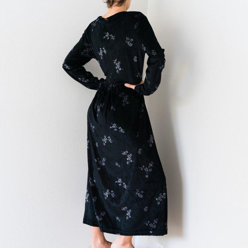 b7c23a7e1f Vintage 90s Grunge Liz Claiborne Dress - Vintage 90s Grunge Oversized Black  Mini Floral Print Cozy Velvet Rayon Liz and Co. Claiborne Long Sleeve Floor  Maxi ...
