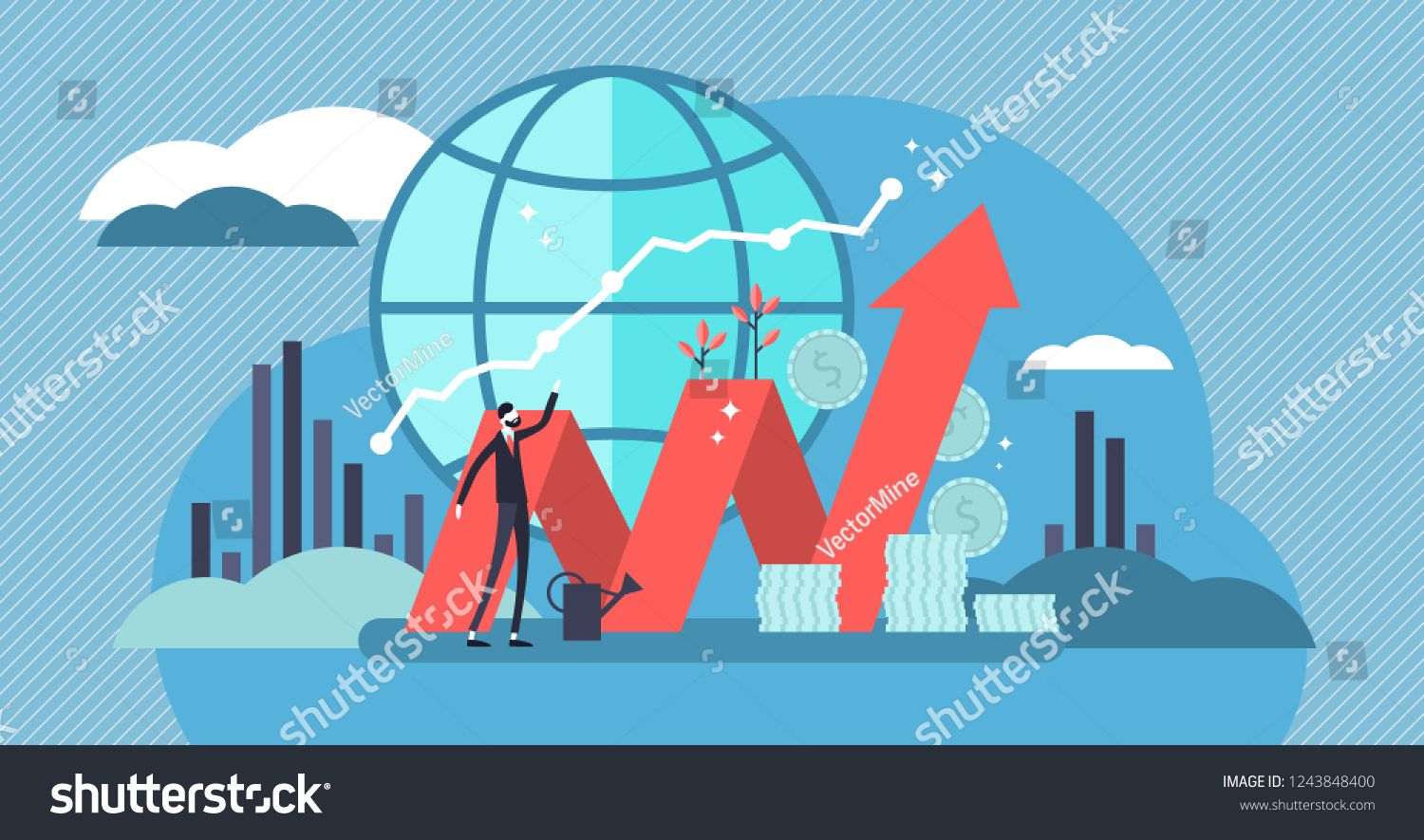 Stock Market Vector Illustration Flat Mini Money Growth Persons Concept With Positive And Successful Indicators Stock Market Vector Illustration Illustration