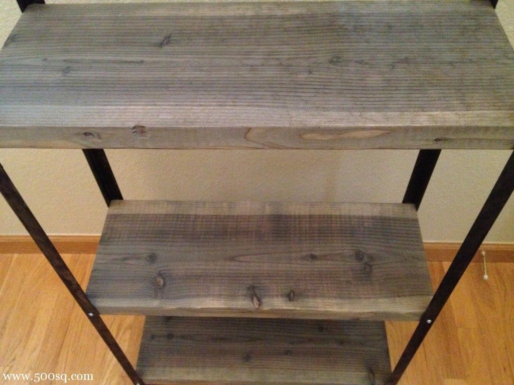 An affordable diy industrial shelving unit made from ikea for Ikea wood shelving units