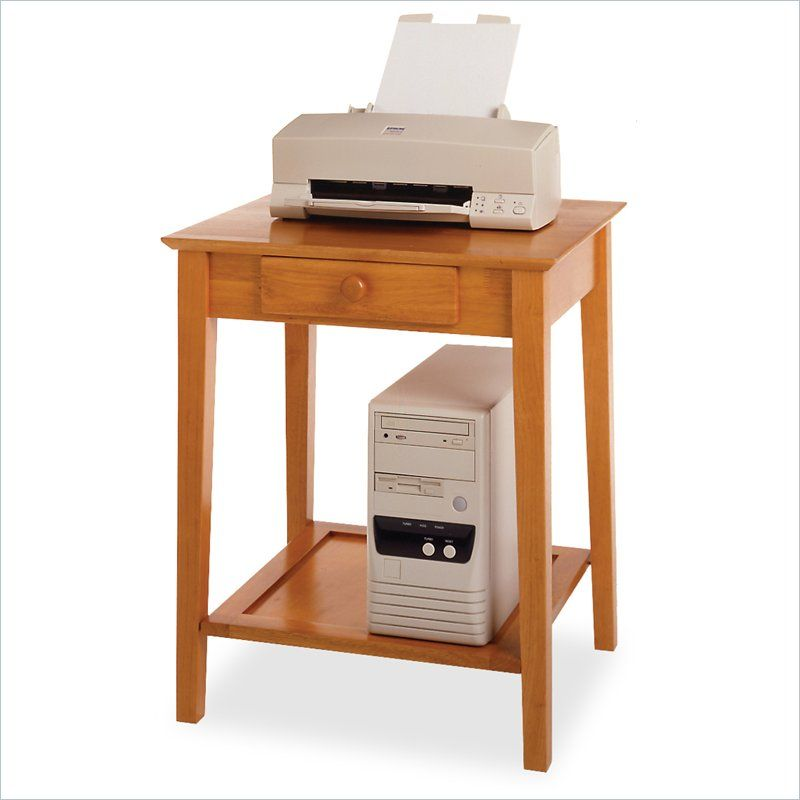 Winsome Solid Wood Printer Stand End Table In Honey Printer Stand Printer Stands Home Office Computer Desk