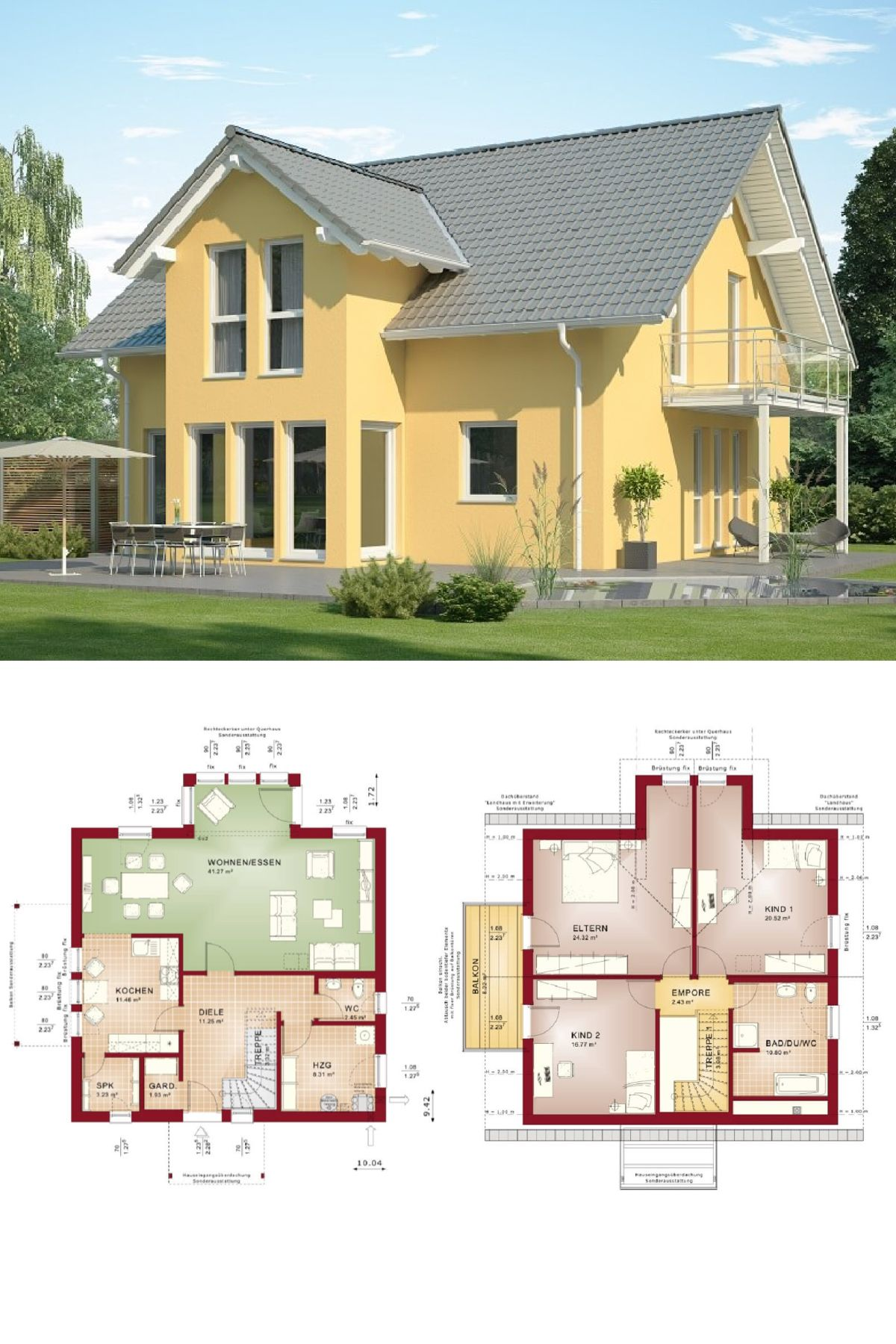 Klassisches Einfamilienhaus mit Satteldach-Architektur Grundriss ...