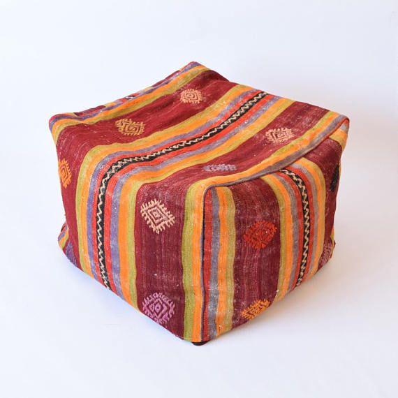 Handwoven Kilim Rug Bean Bag Pouf 40 Pouf Ottoman Moroccan Pouf Magnificent Turkish Kilim Pouf
