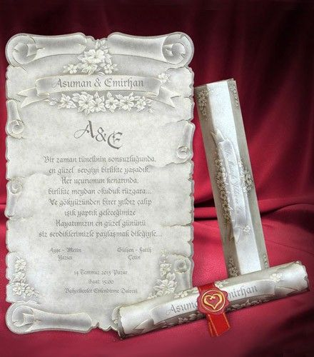 Faire-part mariage original parchemin blanc