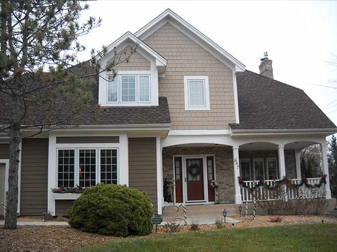 Famous siding colors with brown roof and tan brick - Google Search  JK73
