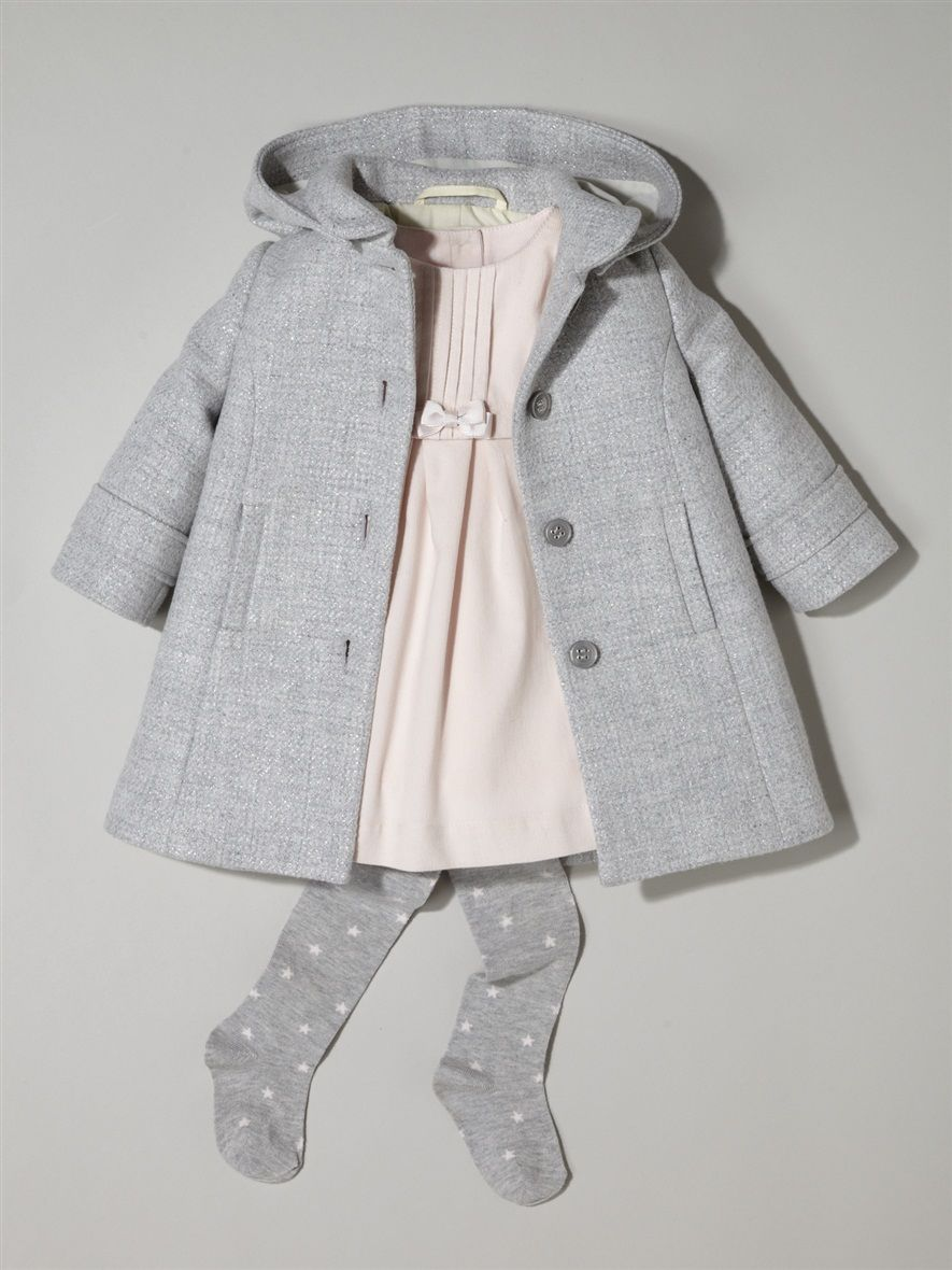 Silhouette Baby-Mantel, Wolltuch + Baby-Kleid, Velours + Baby-Strumpfhose,  Jersey mit Sternen - 95fddacf0e