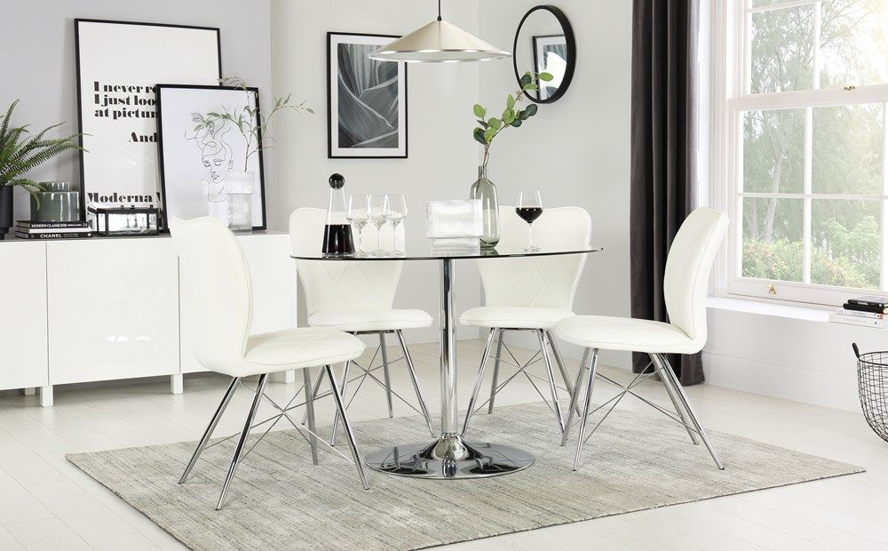 Orbit Round Glass And Chrome Dining Table With 4 Lucca White