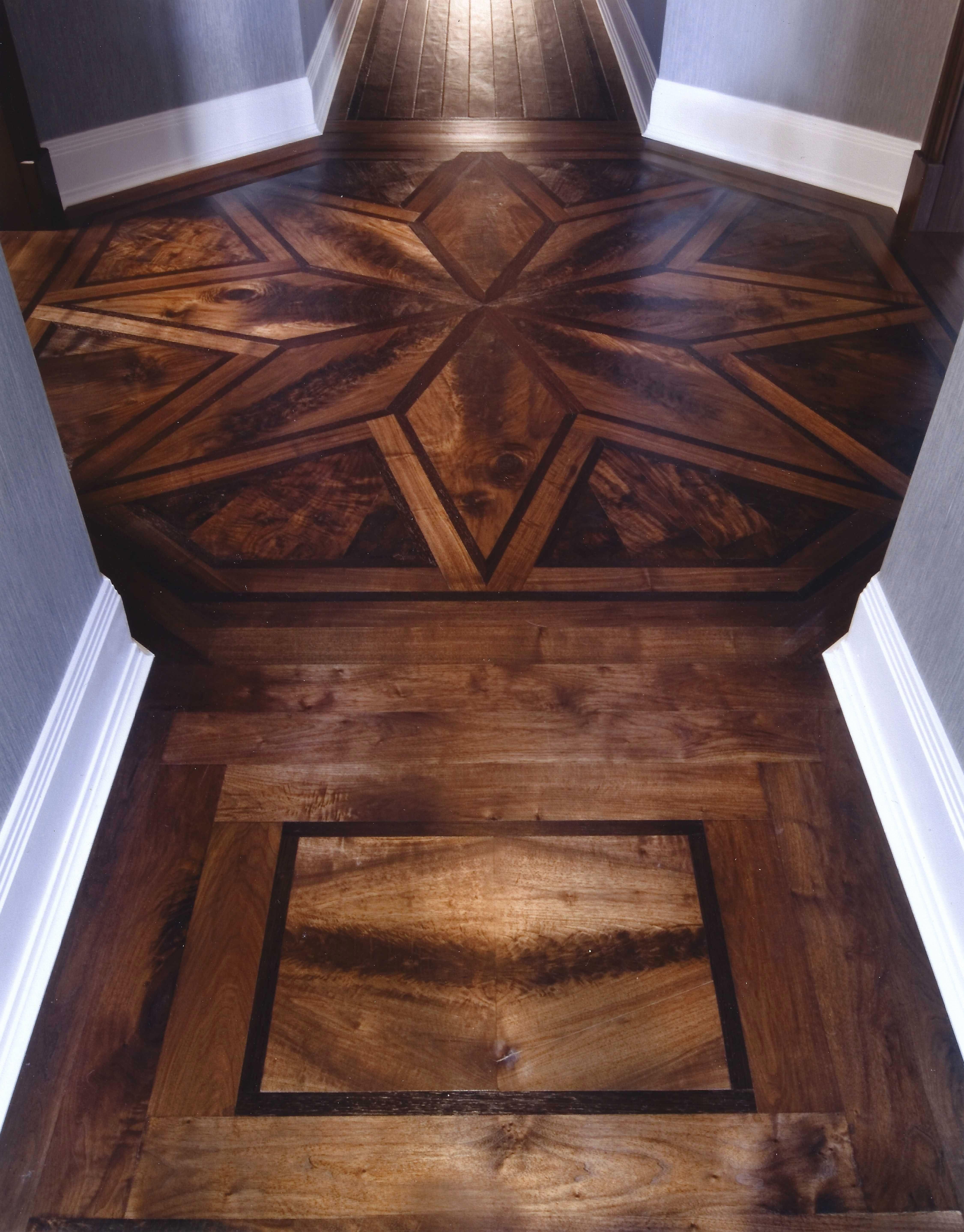 Foyer With Maple Plank Floor With Zebra Wood Inlay Lovely Walnut