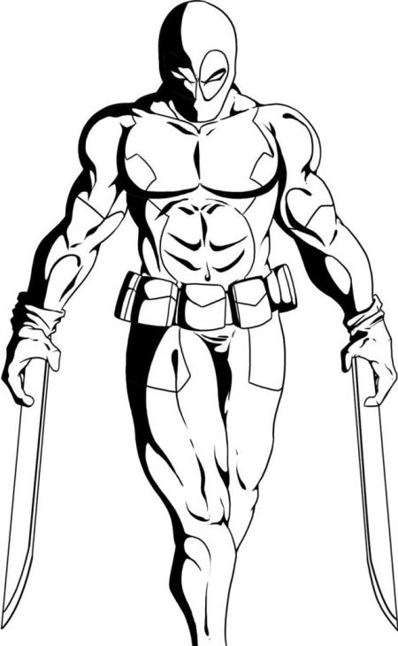 Deadpool Showing Off His Swords Coloring Page | Deadpool. Party ...