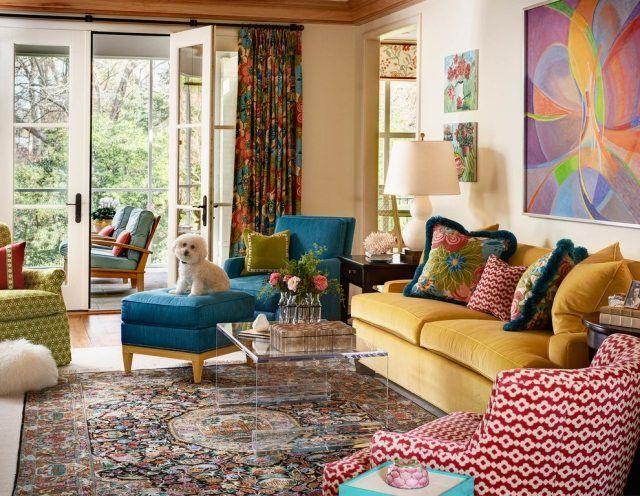 wohnzimmergestaltung mit farbigen mobeln, wohnideen-eklektik für extravagante geschmäcker-farbige möbel, Ideen entwickeln