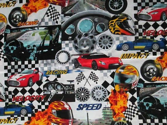 Fast Racing Cars 100 /% cotton fabric