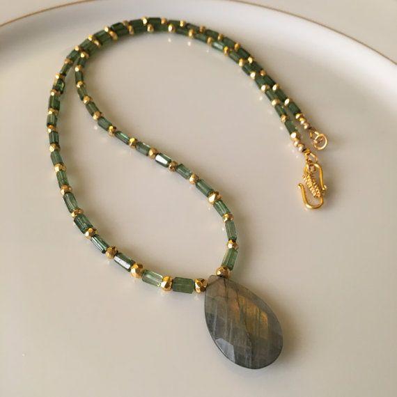 Reduced ... Green Tourmaline Necklace, Tube Beads, Labradorite Pendant, Semi Precious Necklace Luxe Necklace