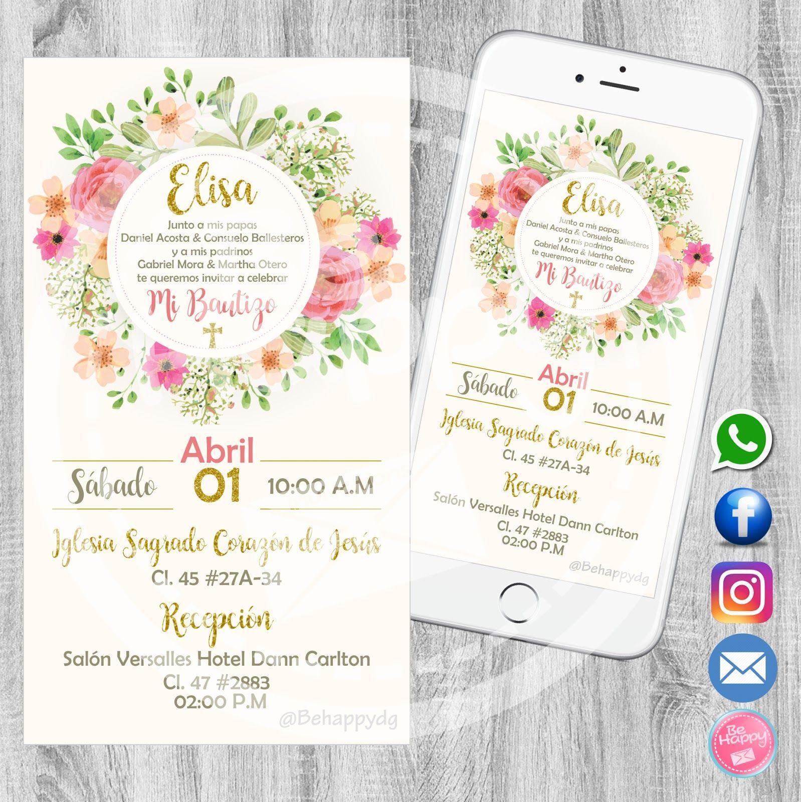 Be Happy Tarjeta De Invitación Digital Tarjeta Invitacion
