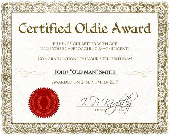 Certified Oldie Award  Customizable With The Free Online