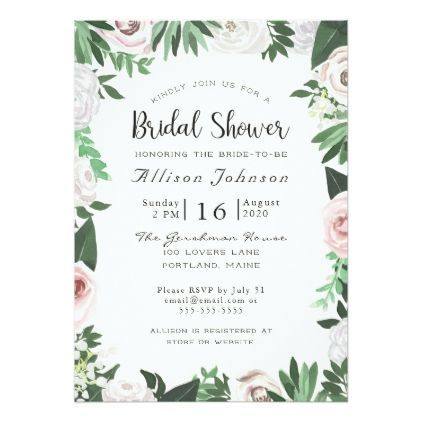 Watercolor floral white green bridal shower card wedding watercolor floral white green bridal shower card wedding invitations cards custom invitation card design marriage stopboris Image collections