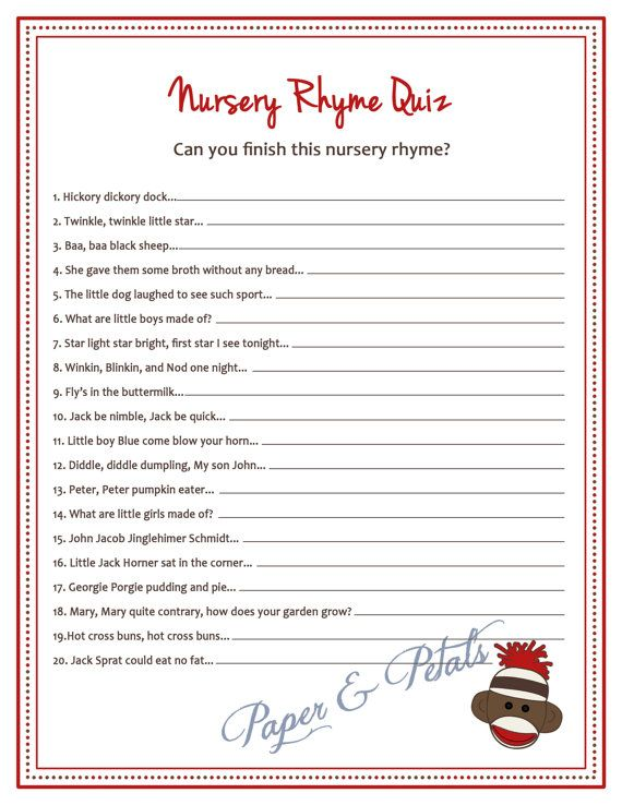 Sock Monkey Inspired Baby Shower Nursery Rhyme Game Printable