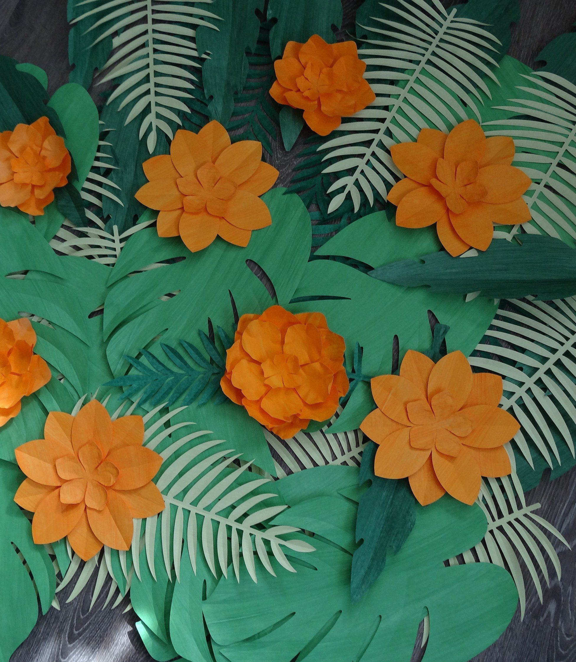 20 mix green jungle leaves paper die cuts card topper tropical flower summer