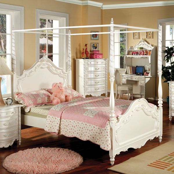 Victoria English Style Pearl White Youth Canopy Bed Canopy bed