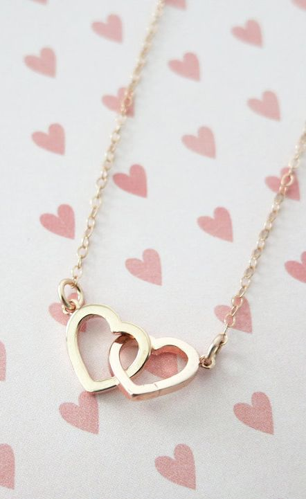 0f2819d4254bf Rose Gold Double Heart Infinity necklace simple | simply gorg ...