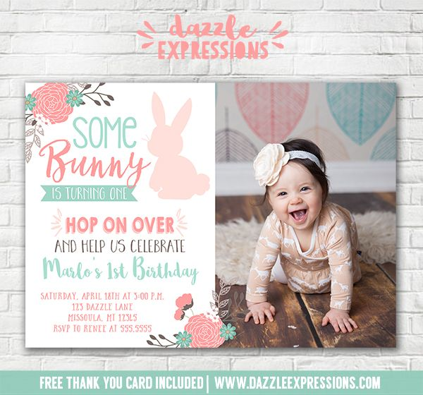 Printable some bunny rabbit birthday invitation girls 1st easter printable some bunny rabbit birthday invitation girls 1st easter birthday invite floral spring birthday party free thank you card included stopboris Images