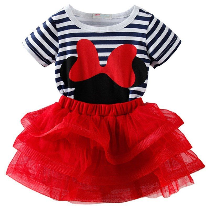 fe37fbb9b Girls Minnie Mouse Clothing Sets 2019 Summer Stripe T Shirt Two-piece  Children Sets Casual