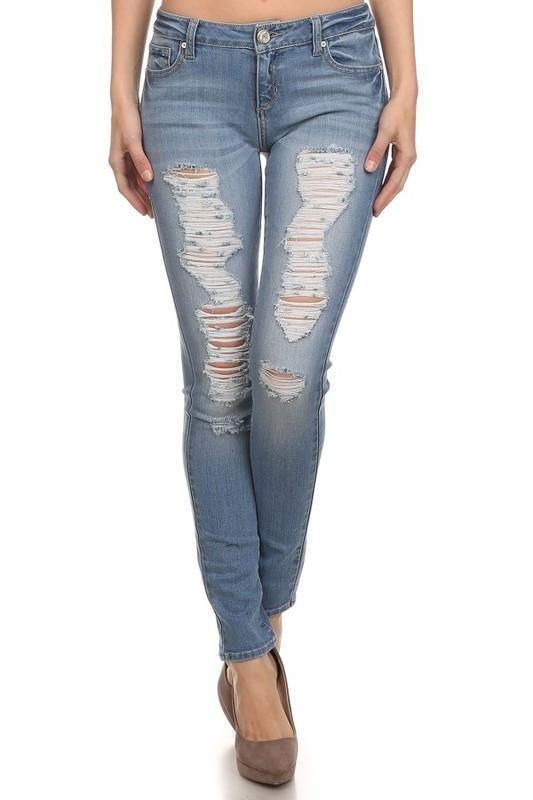 Jasmine Light Wash Distressed Skinny Jeans