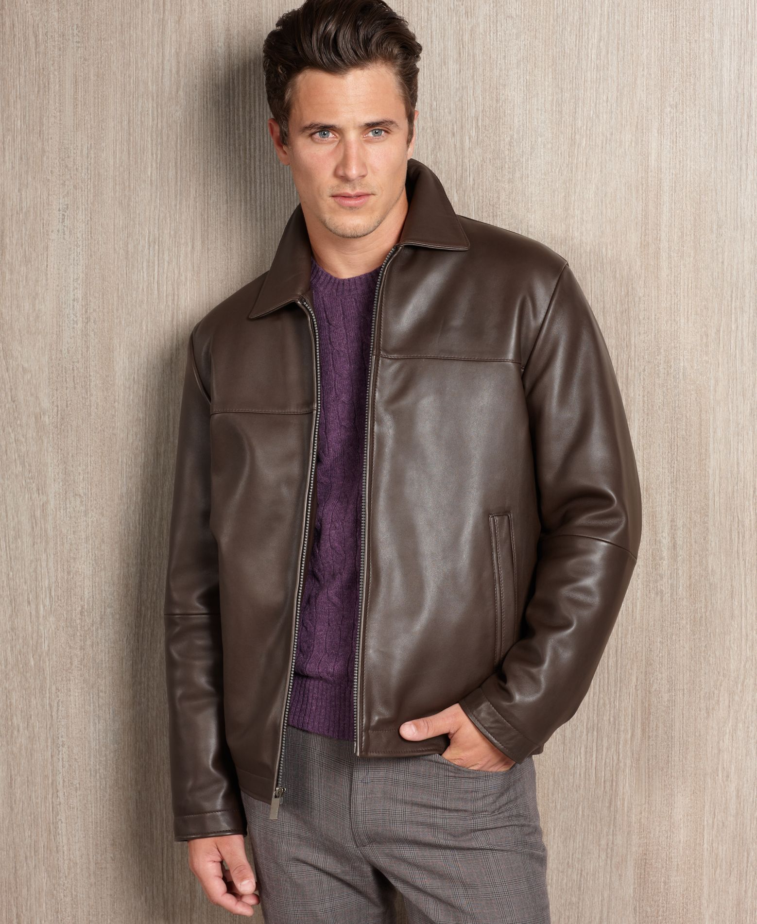 1b9f4a416 Perry Ellis Portfolio Big and Tall Smooth Leather Jacket | Products ...