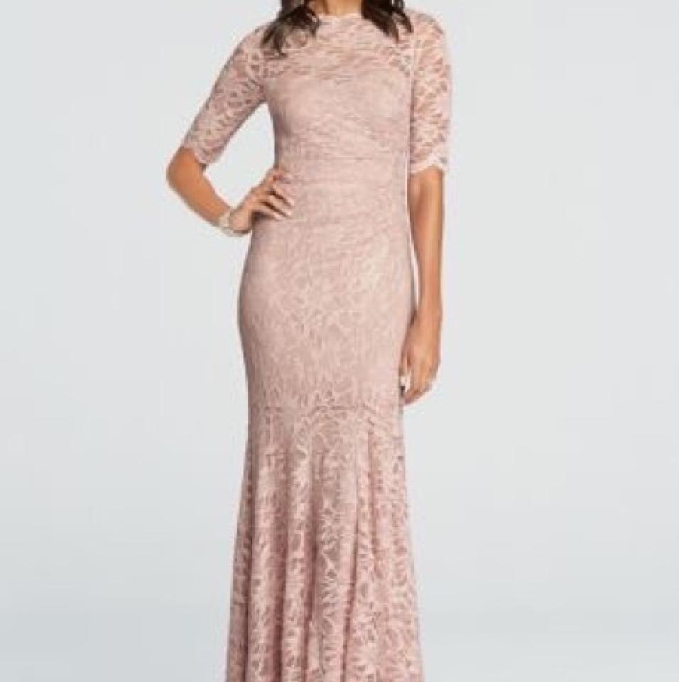 Davids bridal tea rose lace modest bridesmaidmob dress