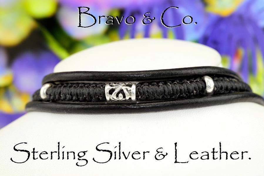 7N-567 Finely Made Solid Sterling Silver & Leather Combo Men Choker Necklace.