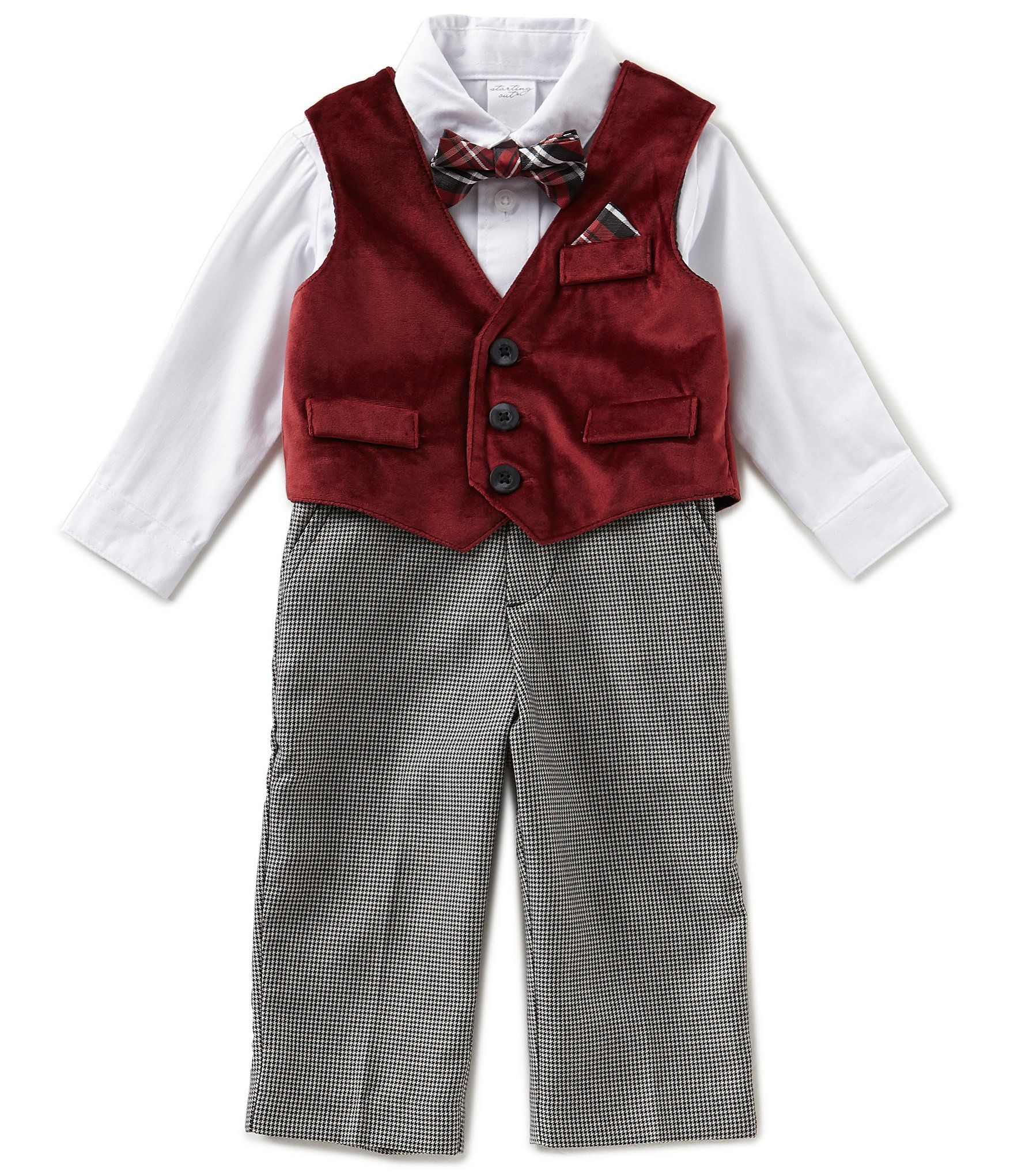 Starting Out Baby Boys 3 9 Months Velvet Vest Button Down Shirt