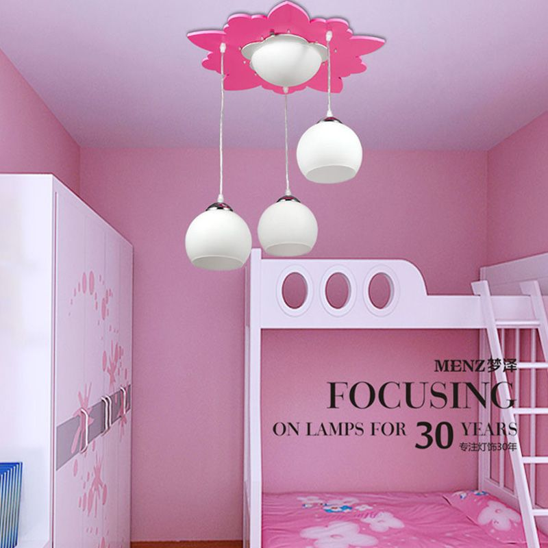 Lovely Pink Girl's Room Pendent Lamp Wooden Flower Kid's Room Pendent Lamp Cartoon Princess Room Pendent Lamp -3