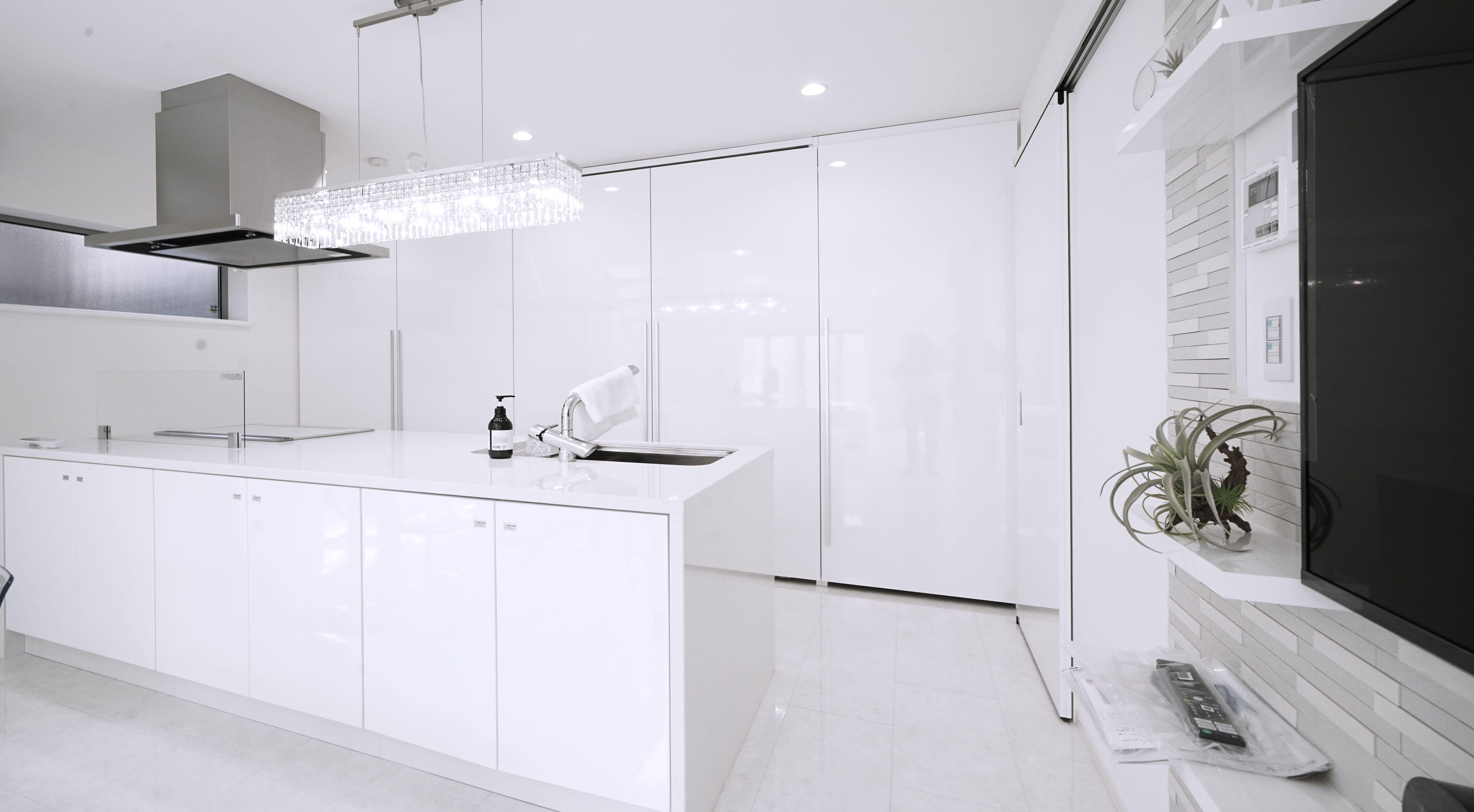 アイランドキッチン 収納 白 鏡面 フラット 引き戸 リビング