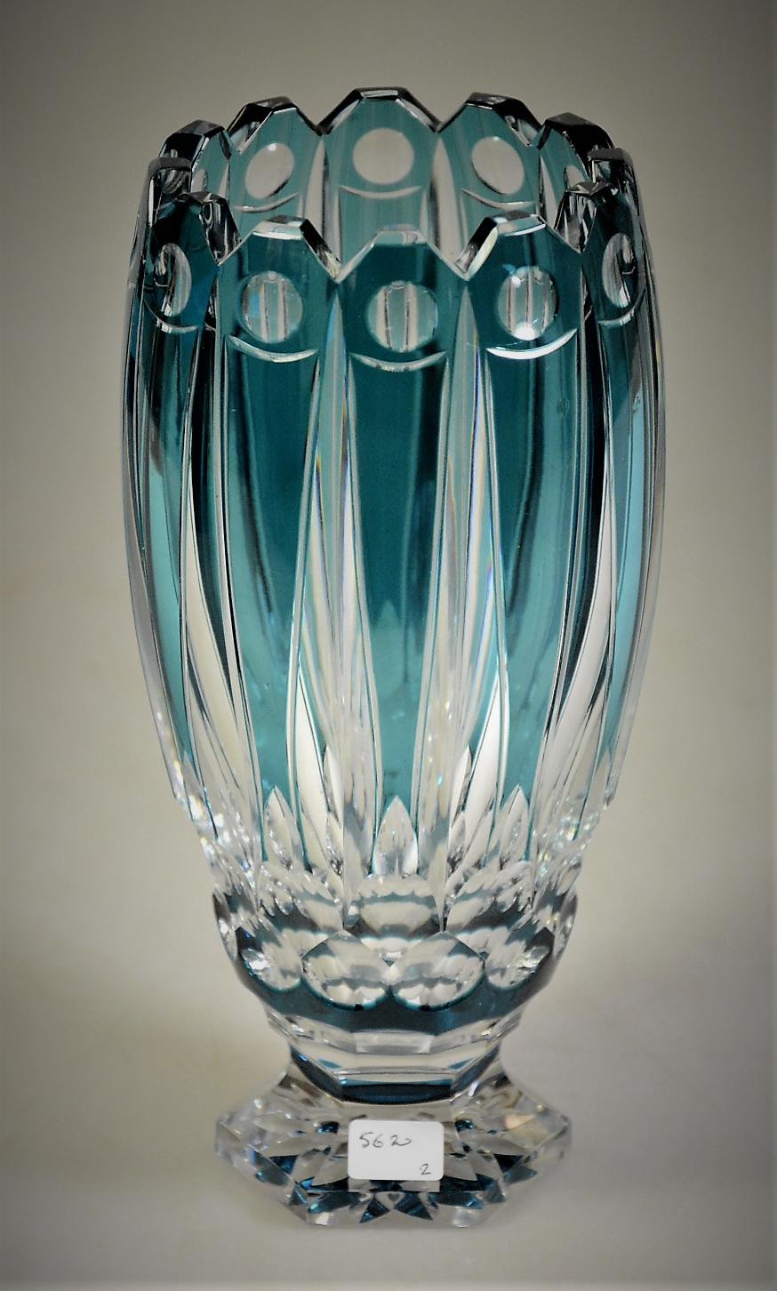 Val saint lambert vase el 307 vase en cristal clair doubl val saint lambert vase el 307 vase en cristal clair doubl bleu ptrole taill floridaeventfo Image collections