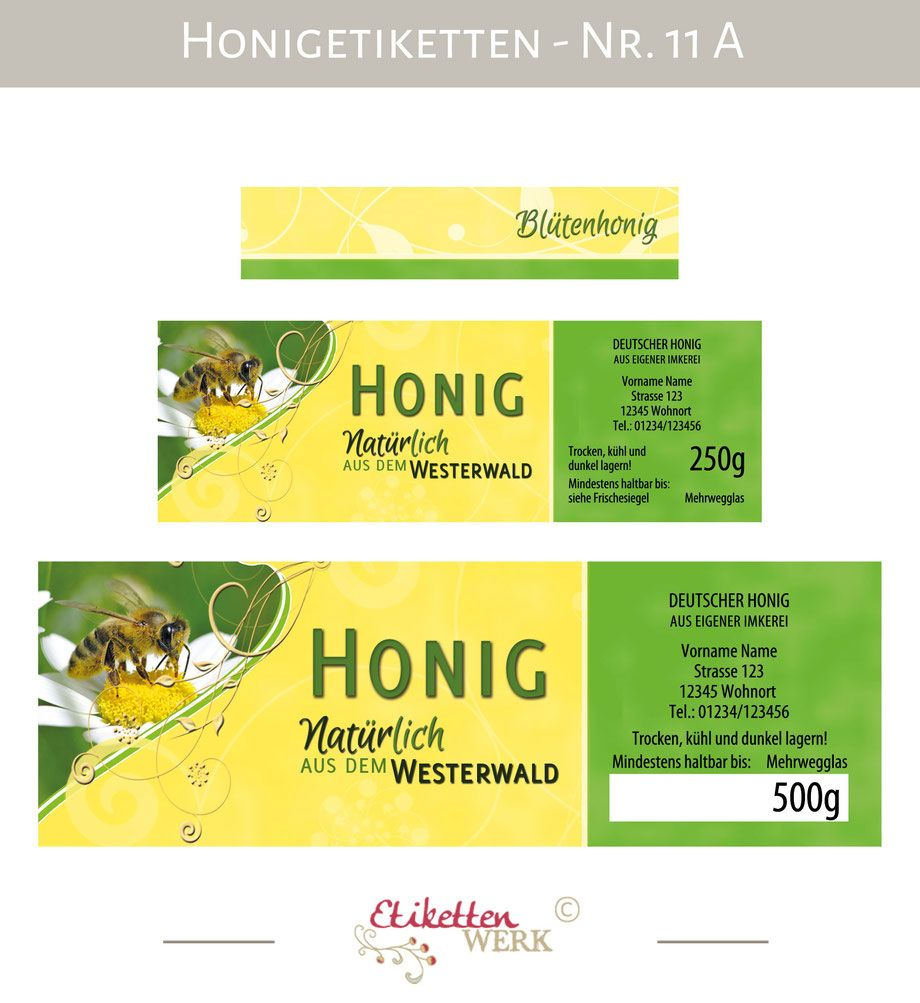 honigetiketten design f r honig honigglasetiketten etiketten imker honiggl ser honig. Black Bedroom Furniture Sets. Home Design Ideas