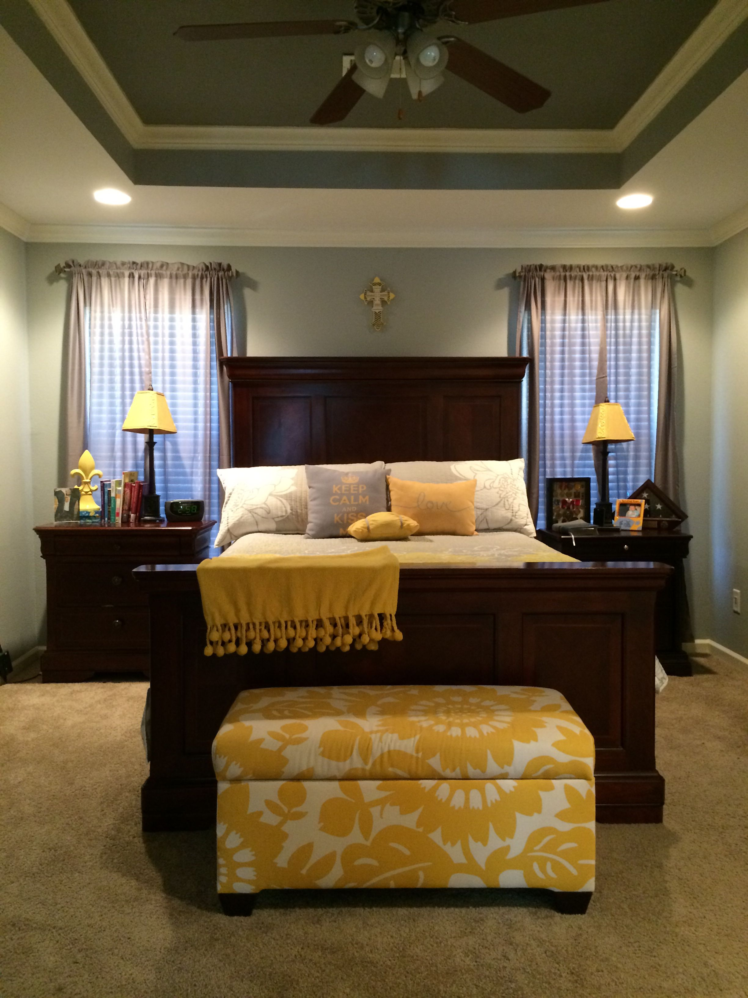 Finished the master bedroom redo. Final touch, painted tray ceiling ...