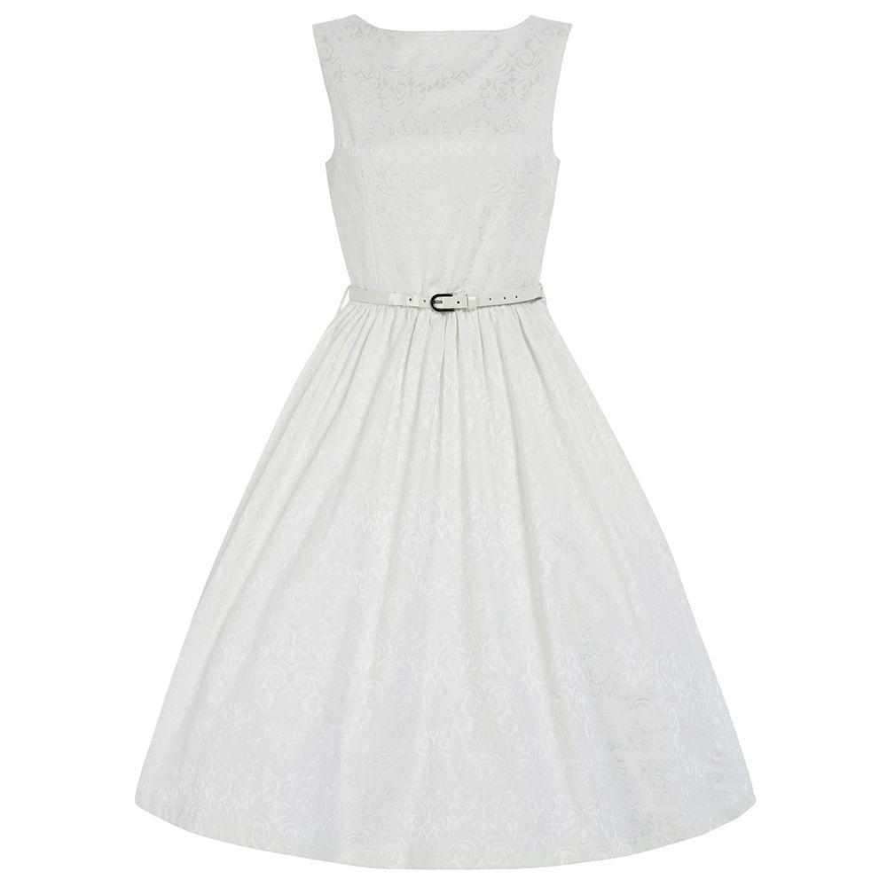 Audrey White Brocade Swing Dress | Vintage Style Dresses