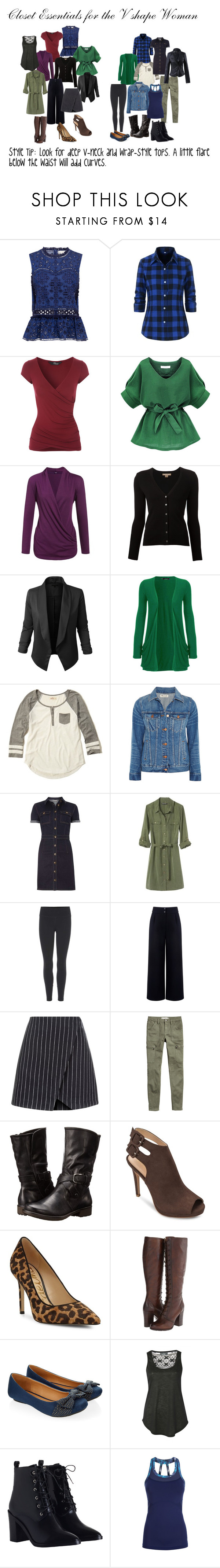 """""""Closet Essentials for the V Shaped Woman"""" by jackie-mallet on Polyvore featuring Sea, New York, Michael Kors, LE3NO, WearAll, Hollister Co., Madewell, Dorothy Perkins, Banana Republic, NIKE and Être Cécile"""