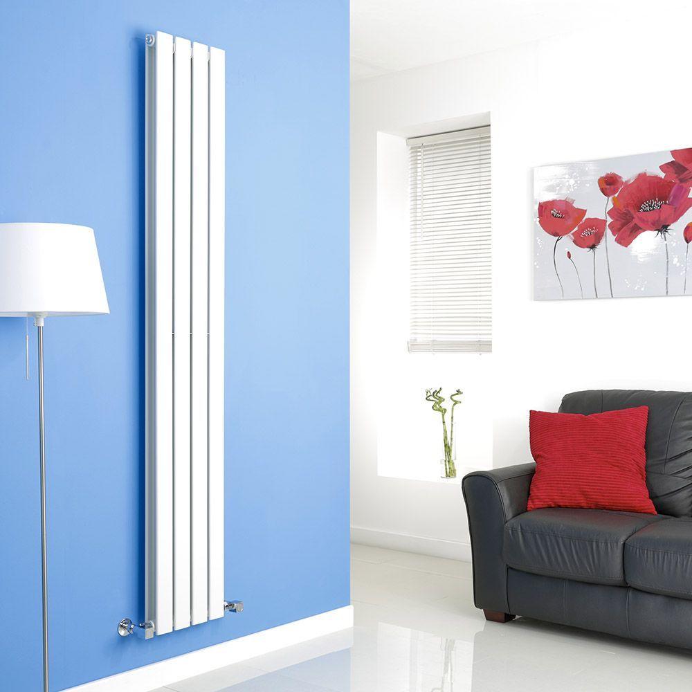 Milano Alpha - White Vertical Double Slim Panel Designer Radiator ...
