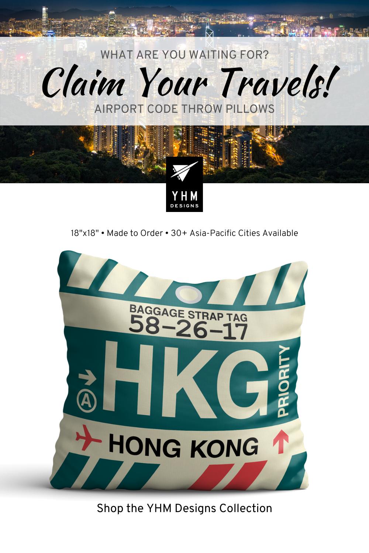 HKG Hong Kong Pillow • Airport Code & Vintage Baggage Tag