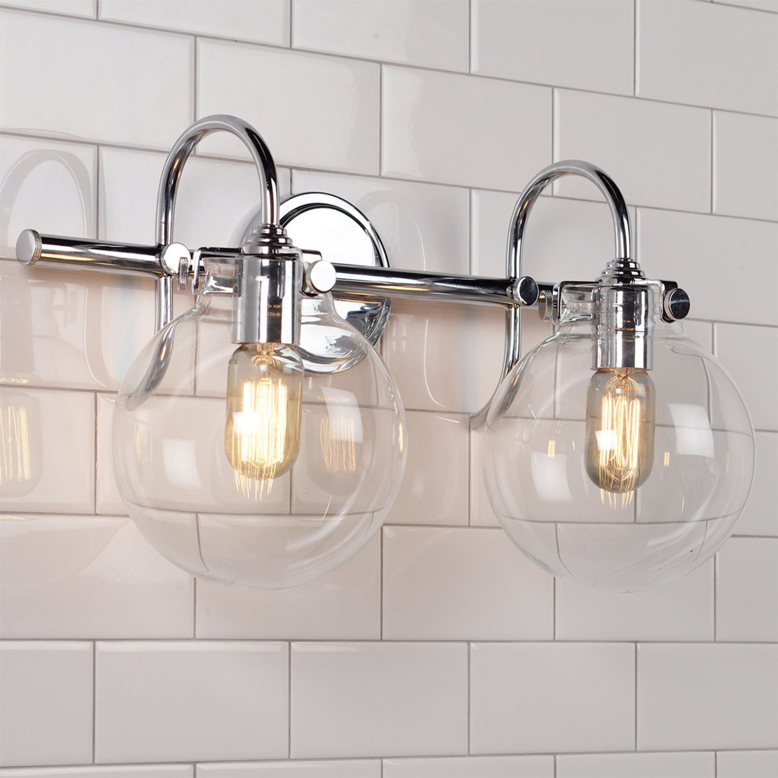 Retro Glass Globe Bath Light 2 Light Powder Room Lighting