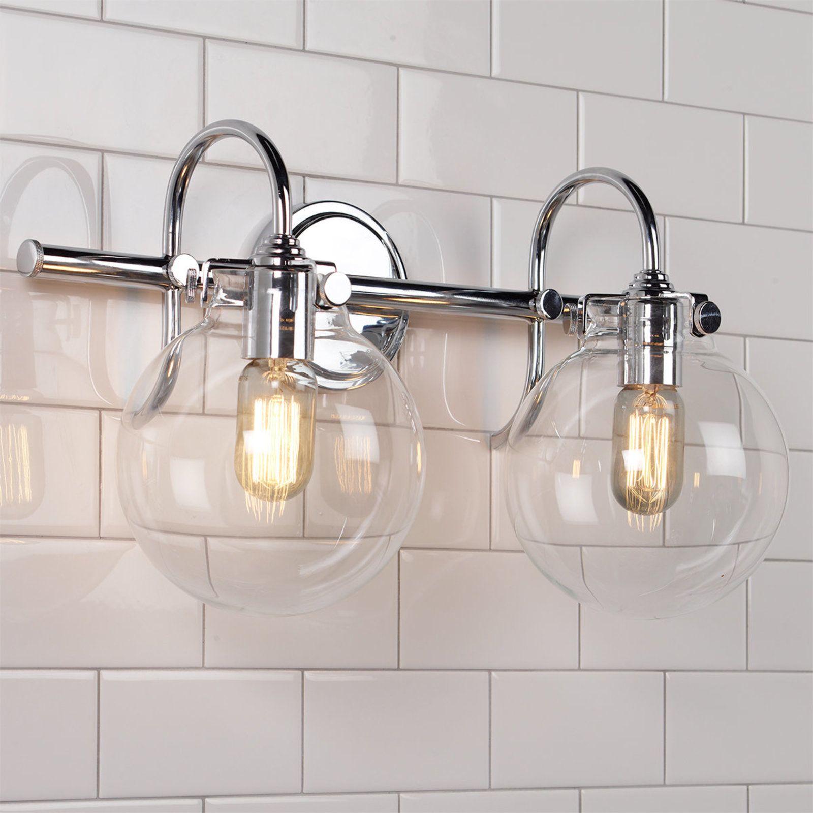 Retro Glass Globe Bath Light 2 Light Bath Light Powder Room Lighting Vanity Lighting
