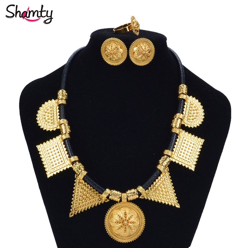 Shamty Habesha Sets Woman Pure Gold Color Leather Rope DIY Jewelry