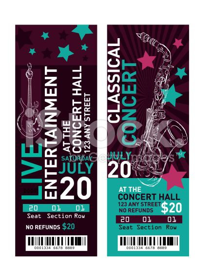 Vector illustration of a set of colorful concert ticket for Numbered event ticket template free