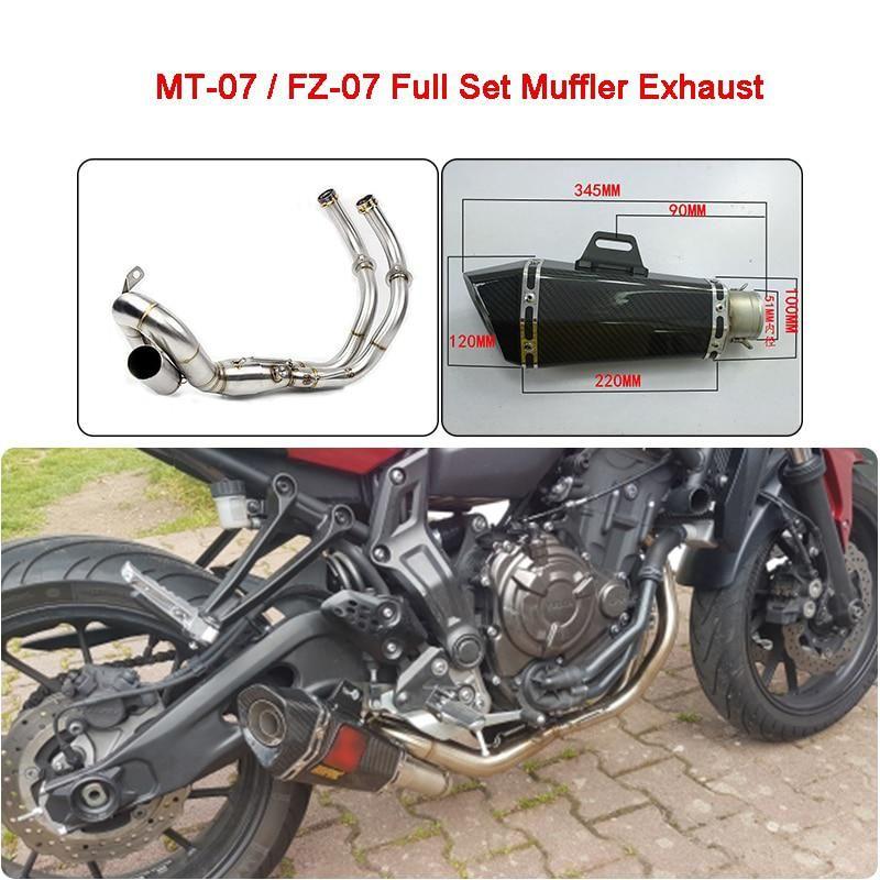MT-07 MT07 FZ 07 XSR700 Motorcycle Full Set Muffler Exhaust