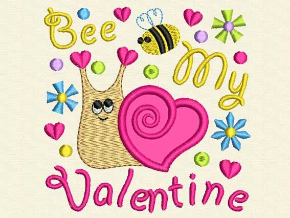 bee my valentine valentines day embroidery design