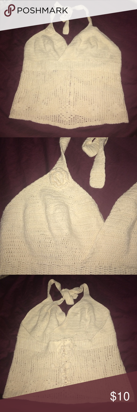 Cream crochet Gap halter top  Super hot cream crochet halter top from GAP. I wore this once and is in great condition! No flaws! This top has so many details and I tried to show them in the pics! Great for a bundle! GAP Tops