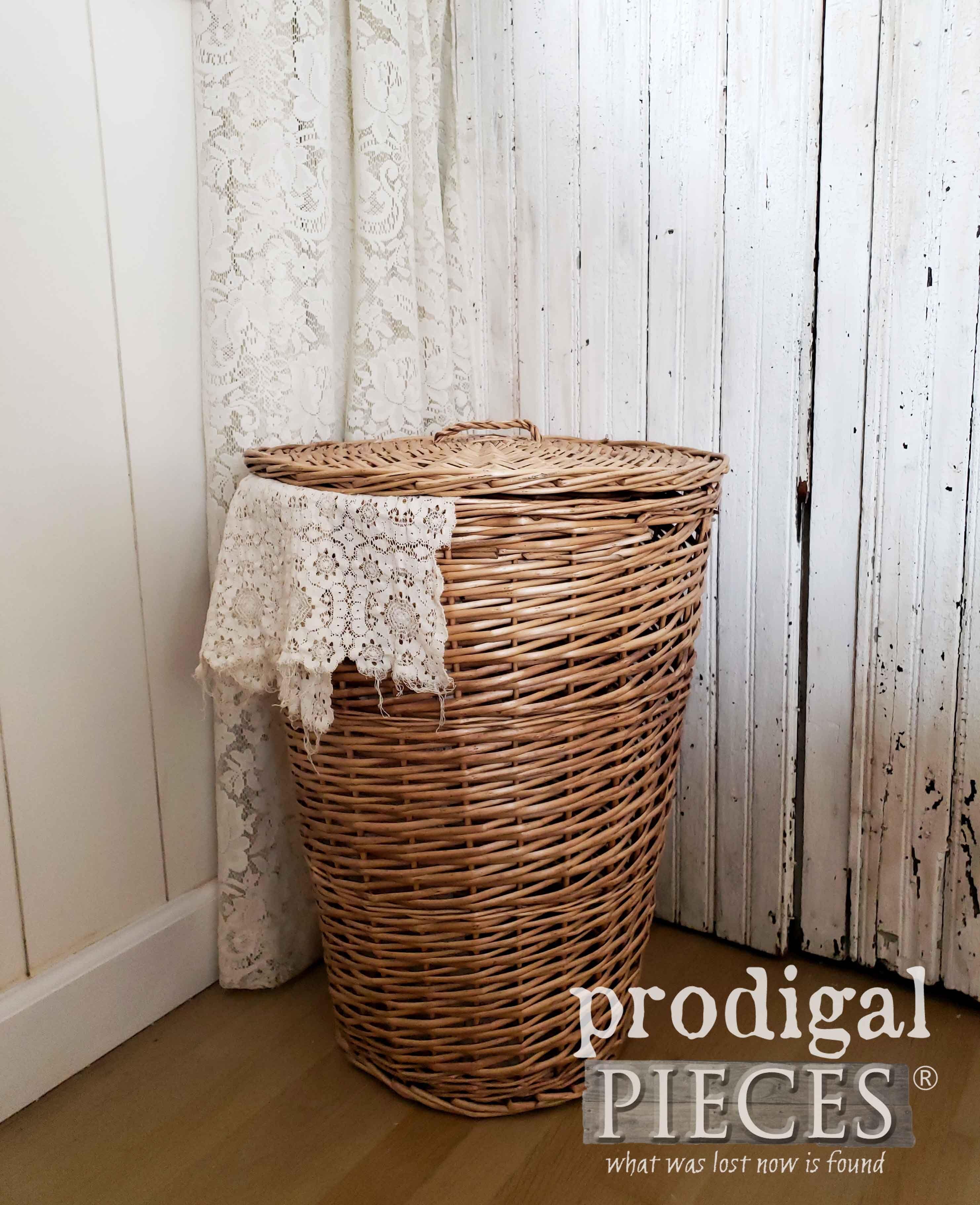 Farmhouse wicker laundry hamper basket prodigal pieces